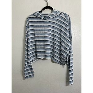 Abound Nordstrom Women's M Medium Blue Stripped Cropped High Neck Long Sleeve